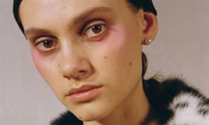 One for all: Shrimps autumn/winter 2017 where the model's eyes, cheeks and lips are the same coral shade.