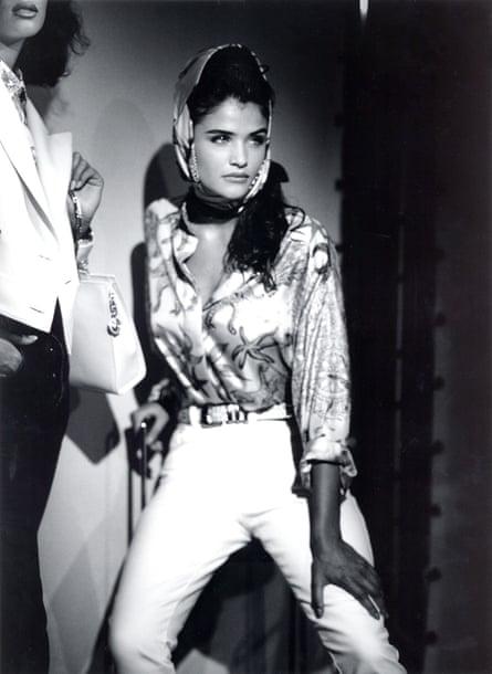 ... Helena Christensen modelling for Versace in 1991