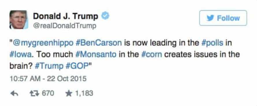 screengrab of trump's tweet
