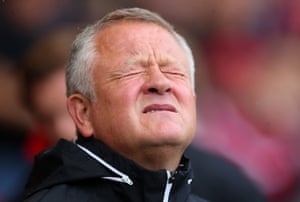 Sheffield United boss Chris Wilder shows his feelings about Henderson's mistake.