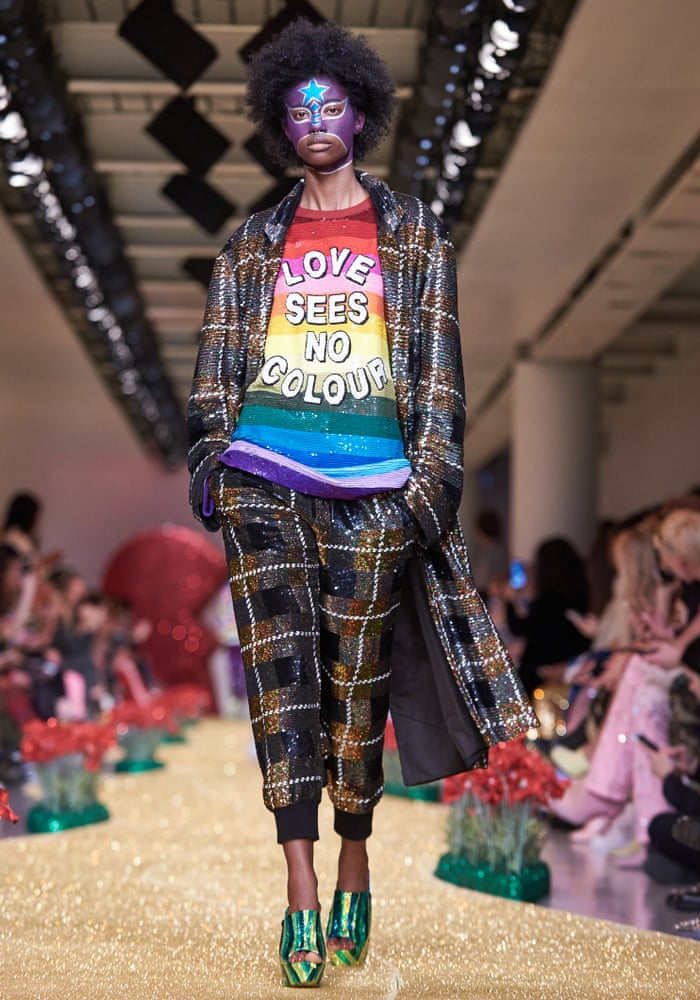 Politicised sequined slogan tees at Ashish's London fashion week show.