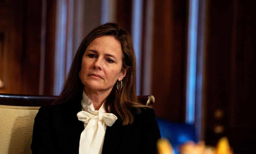 Amy Coney Barrett in Washington last week. Public records show Barrett, 48, lived in a nine-bedroom South Bend home owned at the time by religious scholar Kevin Ranaghan.
