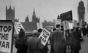 A protest in London on 1 November 1956, after the Suez canal attack.