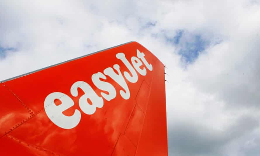An easyJet tail fin in the clouds