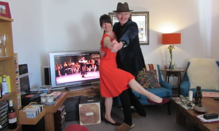 Mind the furniture ... Chris Moss and partner take tips from Youtube tango teachers in their living room in Devon.