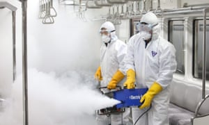 Workers fumigate a train carriage in Seoul, South Korea, on Wednesday as a precaution against the spread of the Zika virus