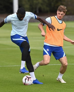 Antonio Rüdiger and Werner during Chelsea training. Werner says his Germany teammate has helped him settle in at his new club.