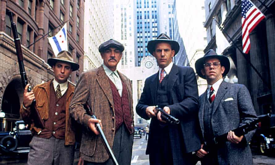 Andy Garcia, Sean Connery, Kevin Costner and Charles Martin Smith in The Untouchables.