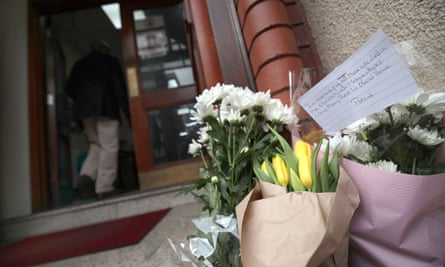 Flowers left at Finsbury Park mosque in London, in response to the Christchurch mosque attacks in New Zealand.