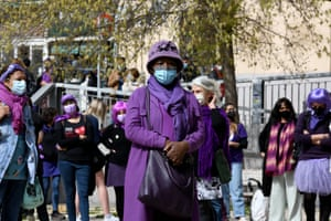 """Women demonstrate in the Lavapiés neighbourhood of Madrid, Spain, under the motto: """"In the face of social emergency, feminism is essential"""""""