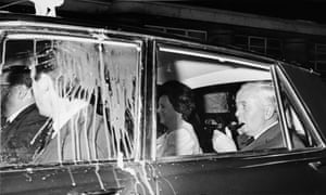 In 1970, eggs are thrown at the car of British Prime Minister Harold Wilson after a speech at Hammersmith Town Hall, London