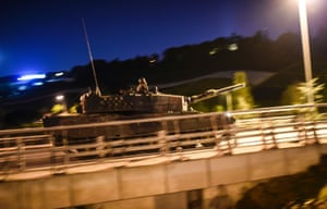 A military tank drives forward at the entrance of the Bosphorus bridge during an attempted coup