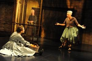 The Heresy of Love, 2012. Directed by Nancy Meckler, designed by Katrina Lindsay. The photograph shows Angelia (Sarah Ovens), Brigida (Marty Cruickshank) and Juanita (Dona Croll).