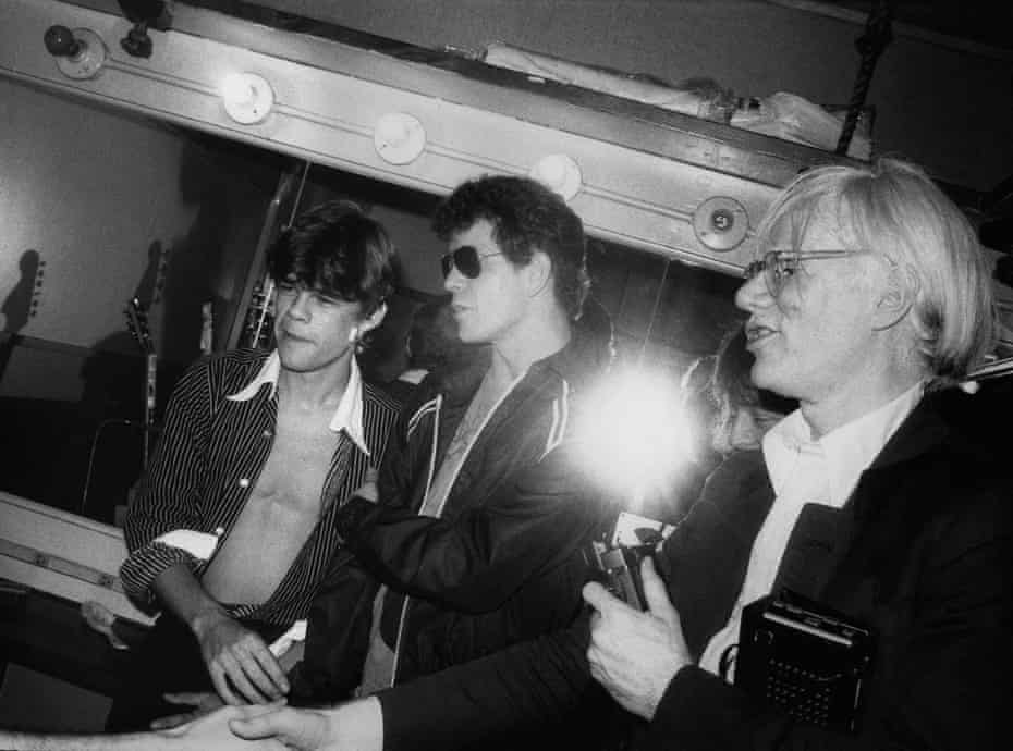 David Johansen, Lou Reed and Andy Warhol, backstage at the Bottom Line in the 1970s.