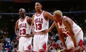 Scottie Pippen, centre, alongside Michael Jordan and Dennis Rodman. The 1995-96 Bulls finished 72-10.