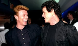 David Bowie and Lou Reed at the premiere of Basquait at the Paris Theatre, on 31 July 1996.