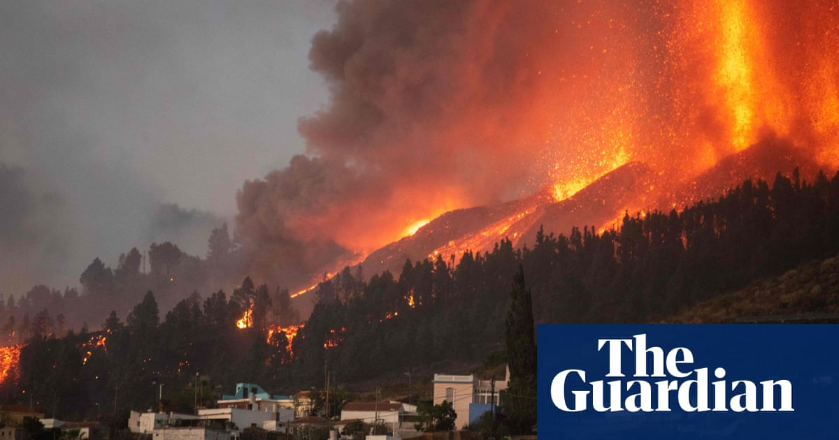 Lava erupts from a volcano on La Palma in Spanish Canary Islands – video