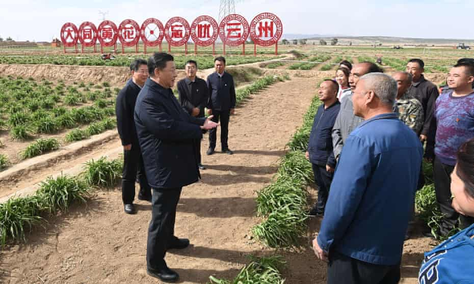 Chinese President Xi Jinping learns about poverty alleviation efforts at an organic day-lily farm in Yunzhou District of Datong City, Shanxi Province in May 2020