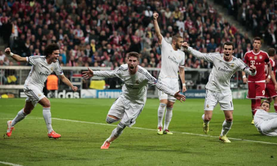 Sergio Ramos (centre) celebrates one of two goals he scored in Real Madrid 5-0 aggregate win over Pep Guardiola's Bayern Munich.