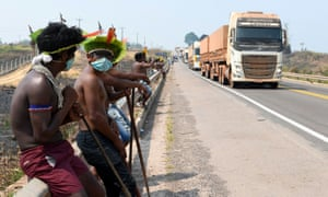 Kayapo Indigenous people after the reopening of the BR-163 highway, during a protest against the government measures in the indigenous lands to avoid the spread of the coronavirus disease.