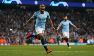 Raheem Sterling of Manchester City celebrates after scoring his team's fifth goal, which is later disallowed, during Wednesday's Champions League quarter final.