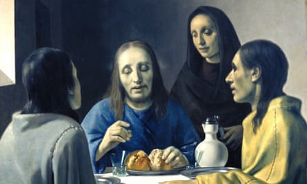 Christ and the Disciples at Emmaus. The painting was initially attributed to Dutch painter Johannes Vermeer, before it was revealed to be a forgery by Hans Van Meegeren and painted in 1936-37.