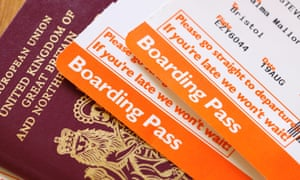 easyJet airline flight boarding pass and UK passport.