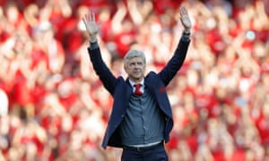 Arsène Wenger acknowledges the Arsenal fans before his final game in charge against Burnley.