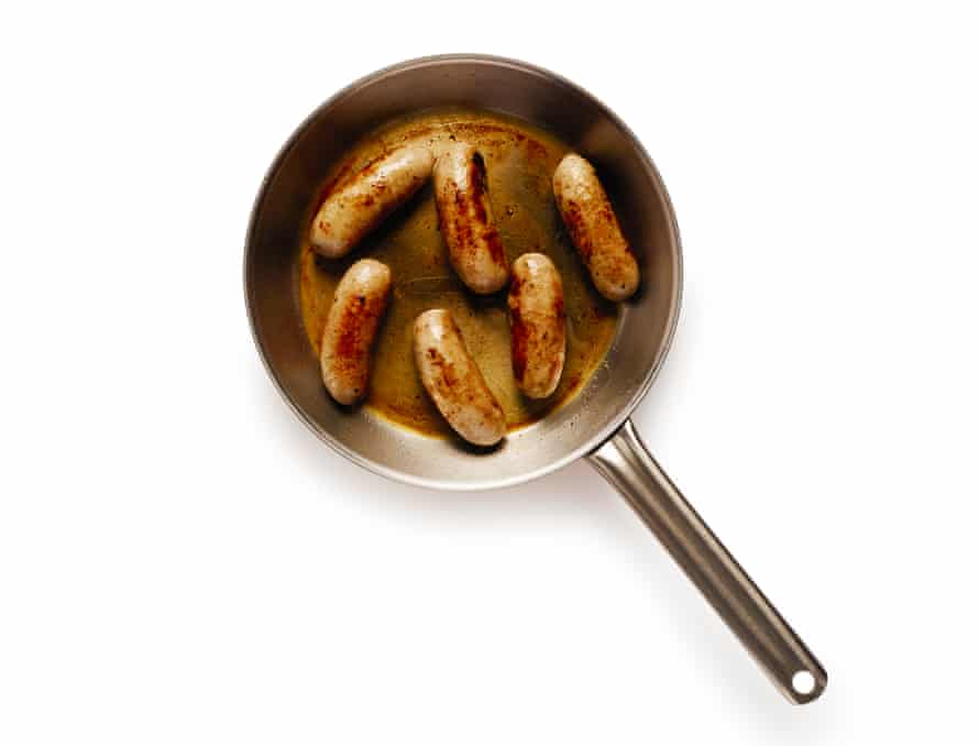 Sausages in a frying pan