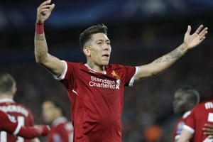 Firmino celebrates after scoring his second of the night.