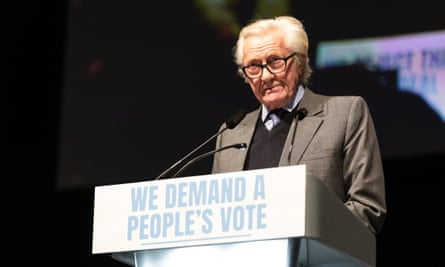 Lord Heseltine speaking at the People's Vote rally in December last year.