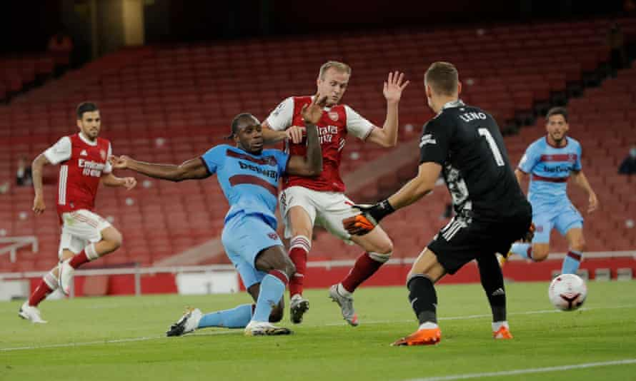 Michail Antonio scores for West Ham at the Emirates in September.