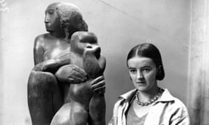 Barbara Hepworth with her one of her Mother and Child sculptures.