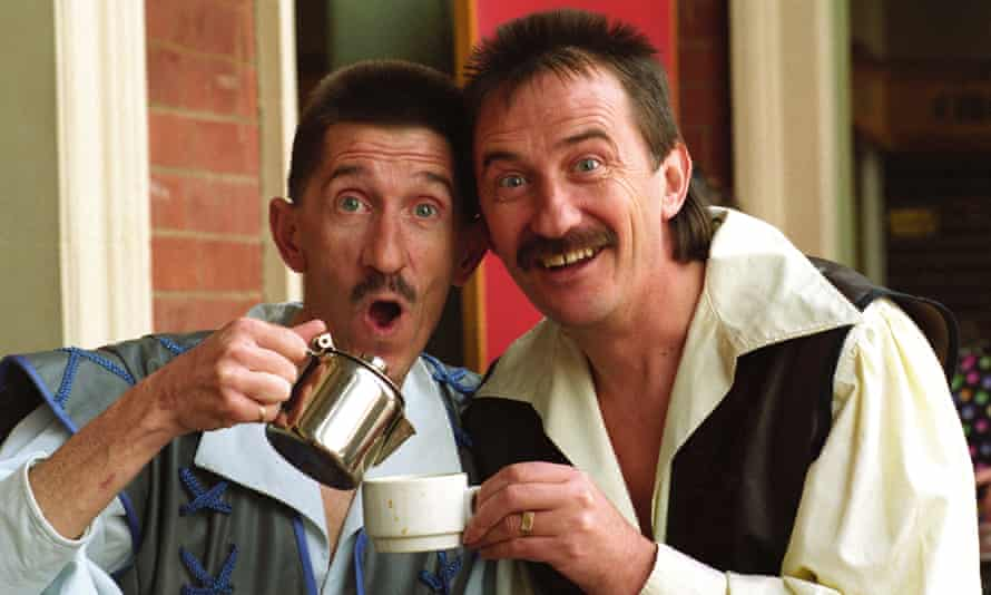 The Chuckle Brothers Paul and Barry Elliot in costume for the pantomime Snow White in Wolverhampton in 1993.