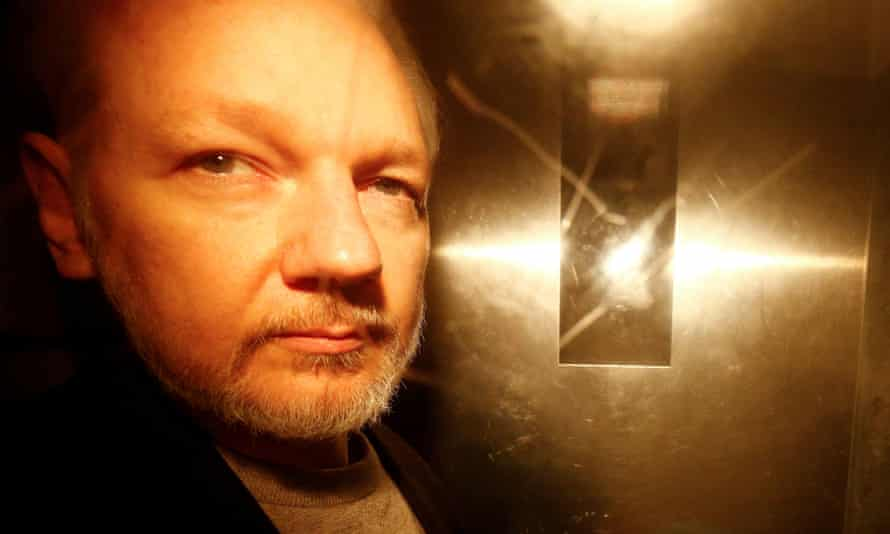 Julian Assange at court in London on 1 May to be sentenced for breach of bail.