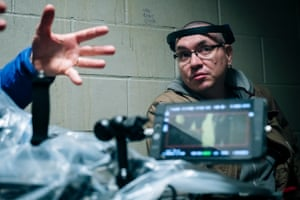 Jeff Barnaby on the set fo Blood Quantum