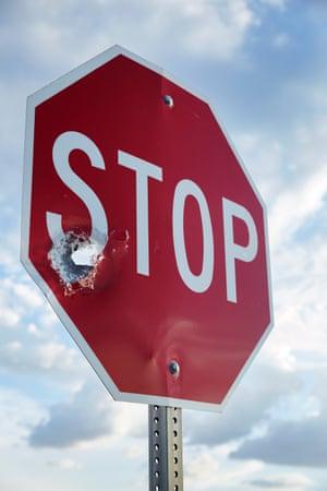 Bullet-riddled Stop sign, Blackwater, Arizona