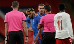Reece James of England gets a red card at end of game from referee Jesús Gil Manzano.