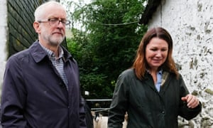The Labour Leader, Jeremy Corbyn, with the shadow envrionment secretary, Sue Hayman, on a recent visit to the Rakefoot sheep farm in Cumbria