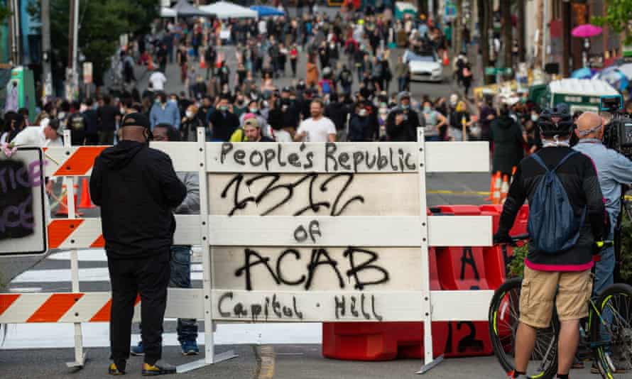 A barricade is seen at an entrance to the 'Capitol Hill Autonomous Zone' on Wednesday in Seattle, Washington. T