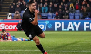 Neal Maupay celebrates scoring at Palace for Brighton in December, but he has struggled since.