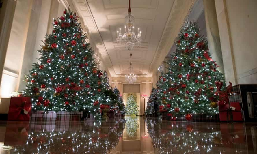 The Cross Hall of the White House is decorated for the Christmas season. This year's theme is America the Beautiful.
