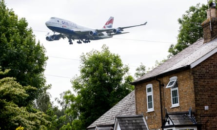 A plane landing at Heathrow airport in west London.