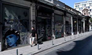 A row of closed shops in Thessaloniki.
