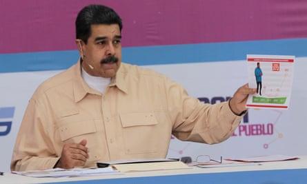 Venezuela's President Nicolas Maduro speaks during his weekly radio and TV broadcast Los Domingos con Maduro