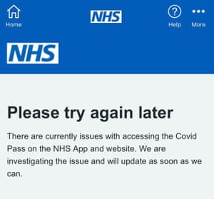 The NHS Covid pass app and website have crashed.