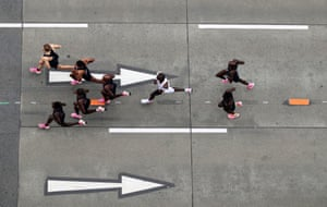An aerial shot of Kipchoge and his group of seven pacemakers.