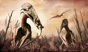 Hatzegopteryx and Zalmoxes, a reconstruction Cretaceous Romania.