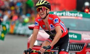Mitchelton-Scott's British cyclist Simon Philip Yates crosses the finish line of the 20th stage