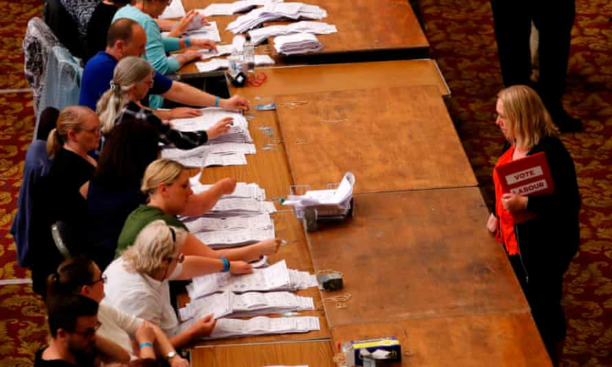 A Labour party candidate watches votes being counted in the EU elections, Southampton, May 2019